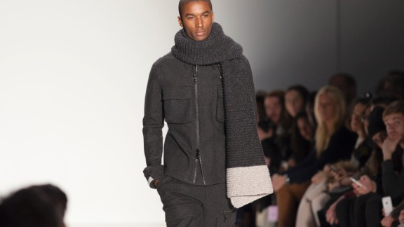 A model walks the runway in warm wool layers for Nautica.