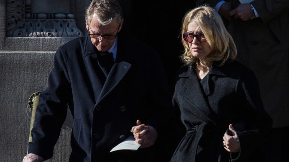 "Director Mike Nichols and his wife, Diane Sawyer, attended the service. Nichols directed Hoffman on Broadway in ""Death of a Salesman."""