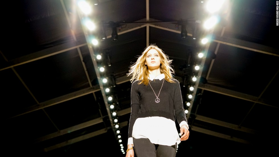 Models do a rehearsal walk before the Jill Stuart show on February 8.
