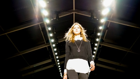 Models do a rehearsal walk before the Jill Stuart show on February 8.