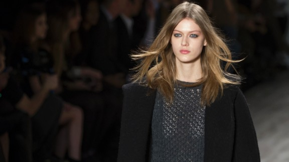 Jill Stuart incorporated a few outerwear pieces into her collection, like this black wool coat.