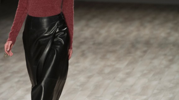 Jill Stuart also showcased a play on the classic leather pencil skirt.
