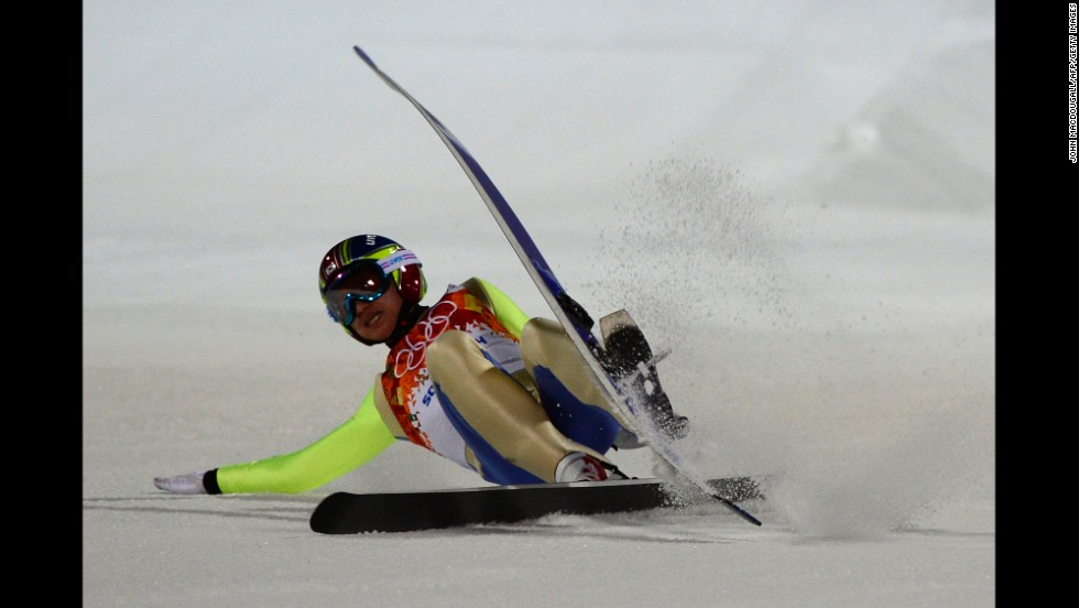 South Korean ski jumper Choi Heung-Chul falls while competing in the men's normal hill event February 8.