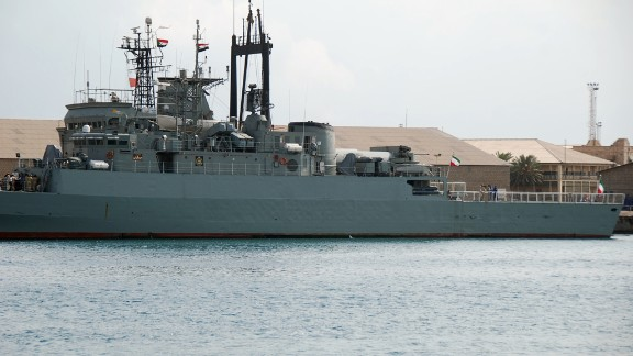 Two Iranian warships dock in the Sudanese Red Sea city of Port Sudan on December 8, 2012.