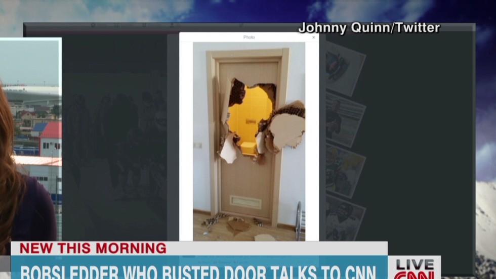 Banging On The Bathroom Door. Bobsledder Busts Through Bathroom Door