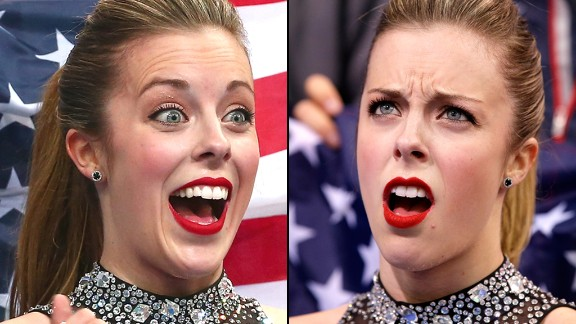 American figure skater Ashley Wagner makes her Olympic debut Saturday, February 8, during the figure skating team short program on Day One of the 2014 Winter Olympics in Sochi, Russia. Her excitement turned to shock when she looked up at the board to see that she had only scored a 63.10 in the event.