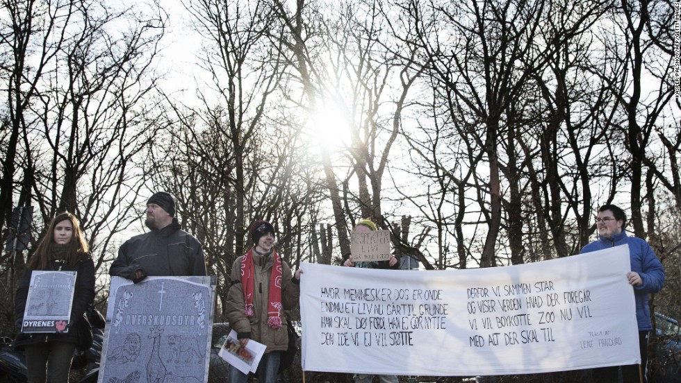 Protestors demonstrate outside the Copenhagen Zoo against the killing of the giraffe on February 9.