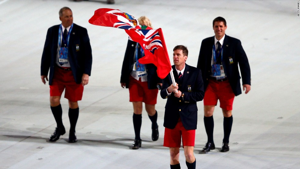 Bermuda's sole athlete and flag-bearer is Tucker Murphy, a skier, seen proudly wearing Bermuda shorts at the Games' opening ceremony.