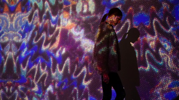 The runway had a psychedelic backdrop at Vivienne Tam