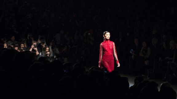 Vivienne Tam showcased her signature Eastern-inspired aesthetic with this intricately laced red dress.