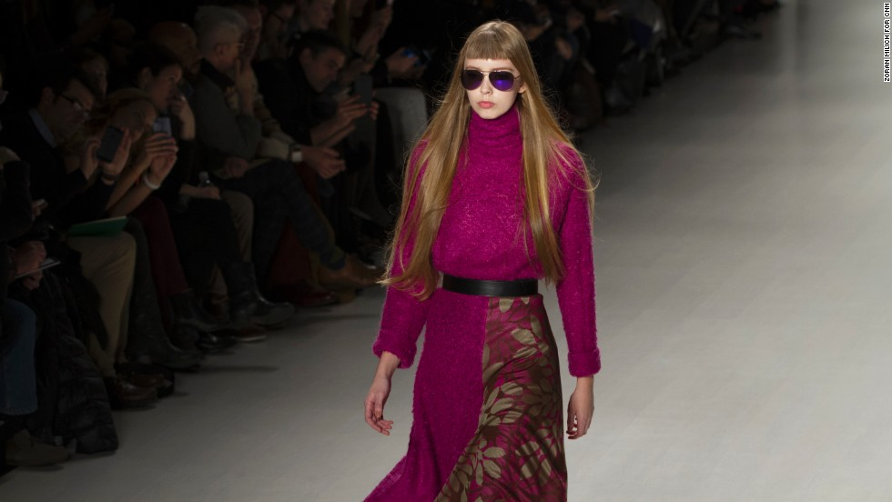 Hues of neon pink were incorporated into many of Custo Barcelona's looks, like this one.