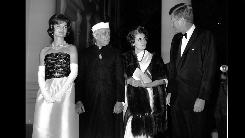 Indian Prime Minister Jawaharlal Nehru and his daughter, Indira Gandhi, with President John F. Kennedy and first lady Jacqueline Kennedy at a state dinner on November 7, 1961.