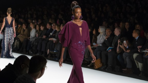 Herrera incorporated highly architectural elements into the typical gown, like this cape-like silhouette.