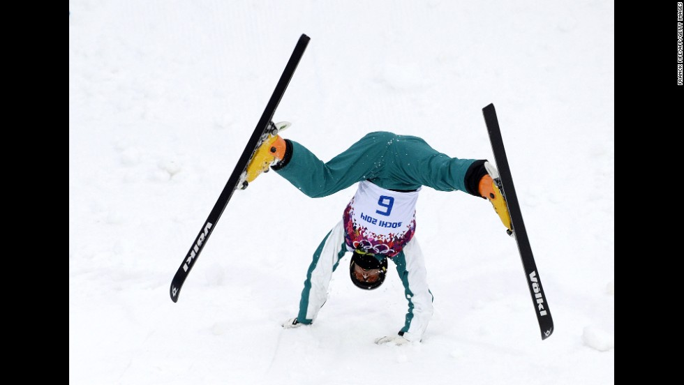 Australia's David Morris falls February 10 during a training session for the men's aerials competition.