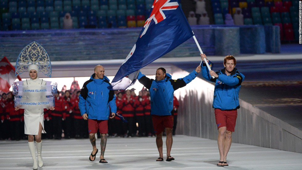 """It's a great honor to represent my country and there's a great sense of pride when everyone back home sees the Cayman Island flag,"" says skier Dow Travers, who had the honor of leading his tiny nation's delegation at the opening ceremony."