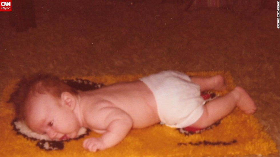"""Push-ups are harder than I thought. Please, Mom, flip me over."" -- Rick Cordsen, age 6 weeks. He's 35 now, and still isn't a fan."
