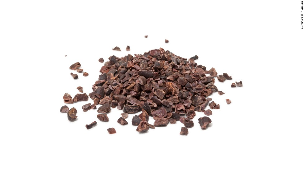 <strong>Cacao Nibs </strong>--<strong> </strong>These cracked bits of roasted cacao beans—the raw material for bar chocolate and cocoa powder—are unsweetened, giving them a bitter, earthy but not unpleasant flavor. Cacao nibs add intense flavor and crunch to granola and many baked goods. You'll find them in natural foods stores.
