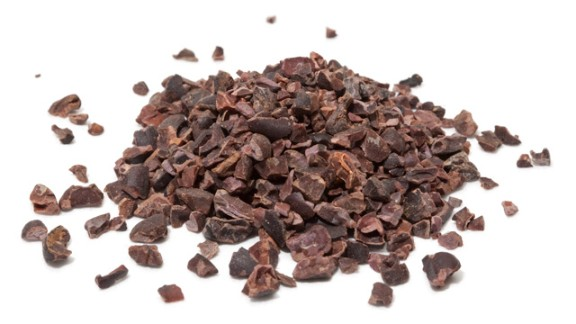Cacao Nibs -- These cracked bits of roasted cacao beans—the raw material for bar chocolate and cocoa powder—are unsweetened, giving them a bitter, earthy but not unpleasant flavor. Cacao nibs add intense flavor and crunch to granola and many baked goods. You