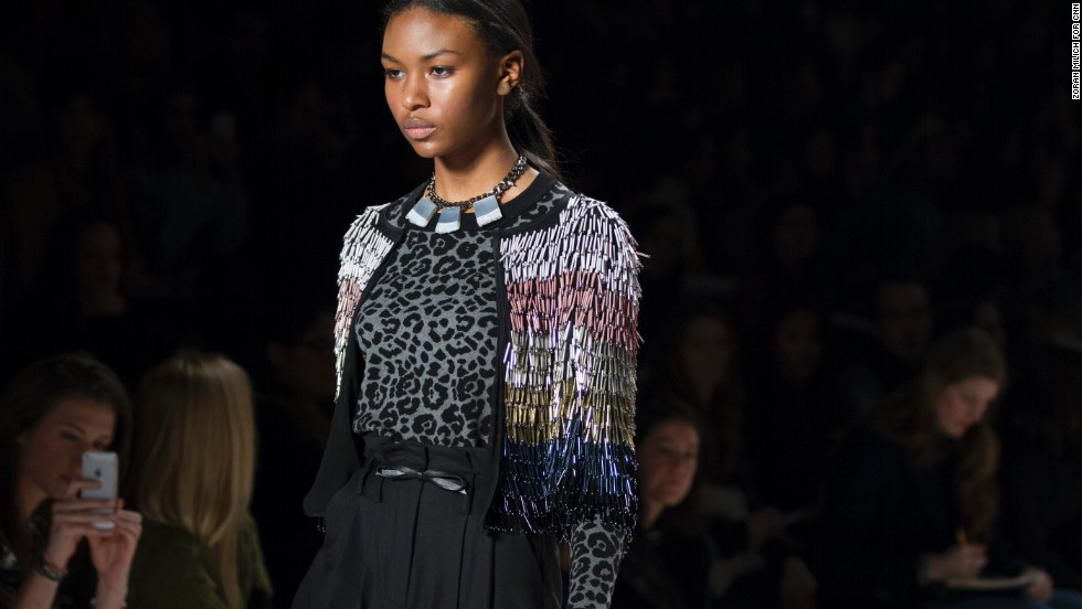 Fringe detailing, which is a big trend for fall 2014, was on display at the Milly show on February 10.