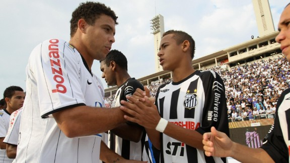 World Cup winner Ronaldo, seen here playing for Corinthians against Neymar's Santos in 2009, is one of several individuals involved in the Barca star's business affairs.