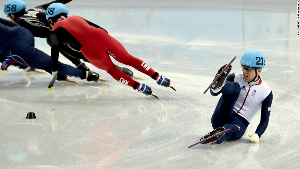 Jack Whelbourne of Great Britain falls during the men's 1,500-meter short track speedskating final on Monday, February 10