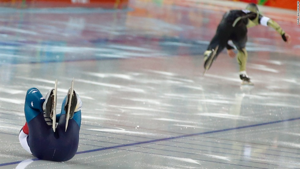 Australia's Daniel Greig crashes February 10 in the first heat of his 500-meter speedskating race.