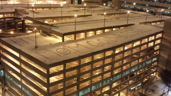 This message at Chicago's Rush University Medical Center has since been covered by parked cars.