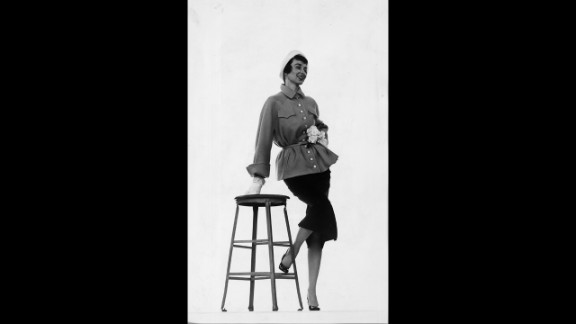 """One of the world's first supermodels, American Dorian Leigh, wears a cinched-waist jacket from designer Vera Maxwell. In the 1930s Maxwell created the  """"weekend wardrobe"""" -- """"It was for women who had busy lives, who might travel for their work, and needed ready-to-wear things,"""" said fashion history professor, Rebecca Arnold."""