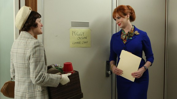 """Christina Hendricks, right, as Joan Holloway Harris, who worked in advertising, in """"Mad Men."""""""