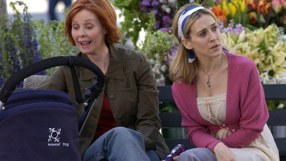 """Cynthia Nixon, left, as attorney Miranda Hobbes in """"Sex and the City."""""""