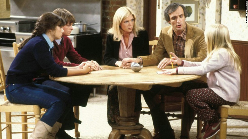 "Meredith Baxter, center, as architect Elyse Keaton in ""Family Ties."""