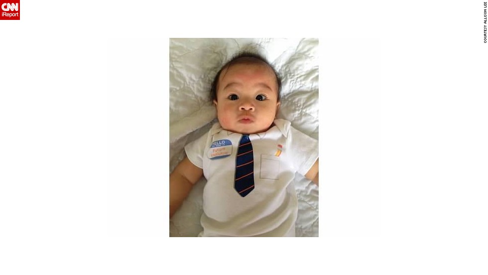 """What?! You want me to work overtime?!"" -- Ethan Fox Chau, age 4 months, at the end of a long week."