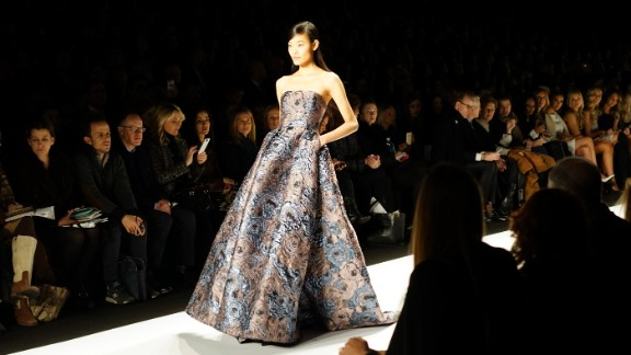 A heavy fabric, floral brocade gown was one of Badgley Mischka