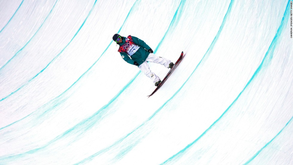 Snowboarder Scotty James of Australia competes in the men's halfpipe on February 11.