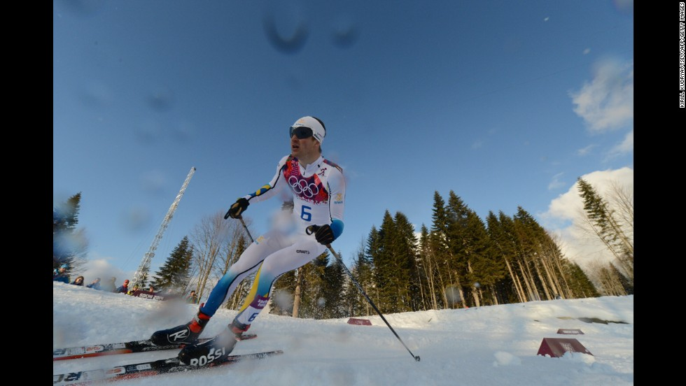Sweden's Teodor Peterson competes in the men's cross-country sprint on February 11.