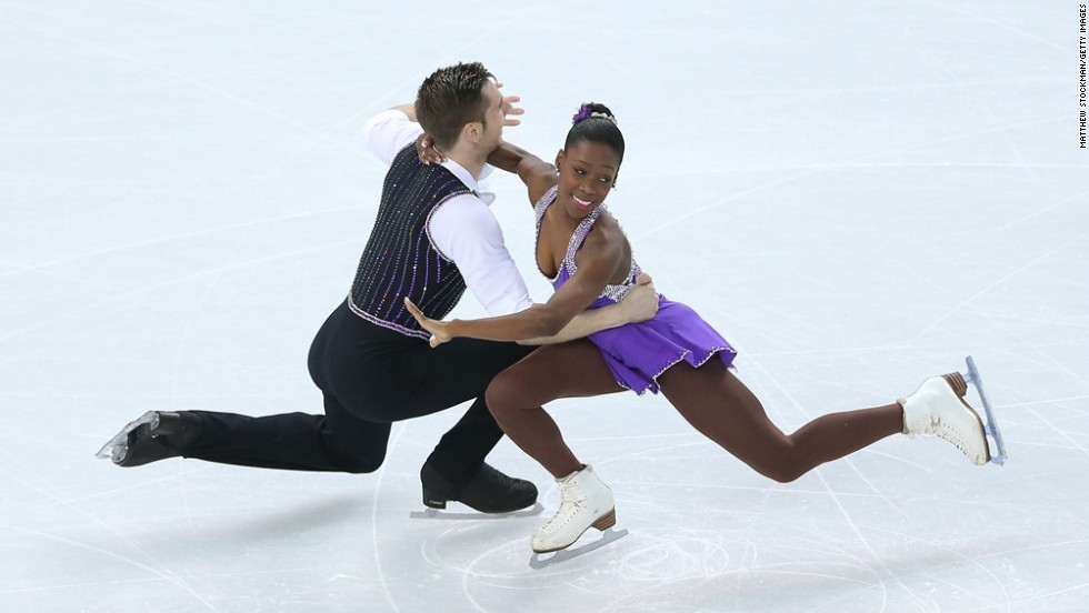 Vanessa James and Morgan Cipres of France compete in pairs figure skating on February 11.