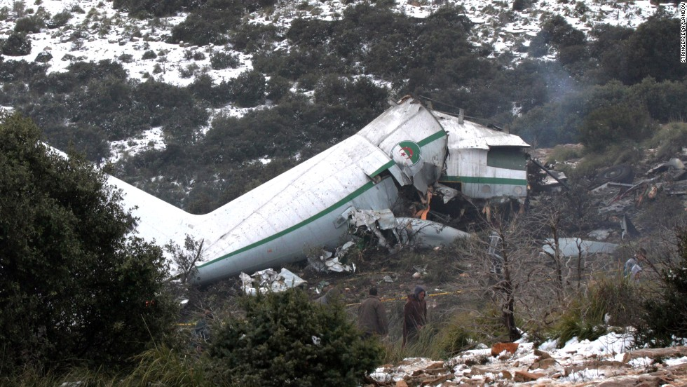 The plane crashed into Mount Fertas, about 500 kilometers (310 miles) east of Algiers.