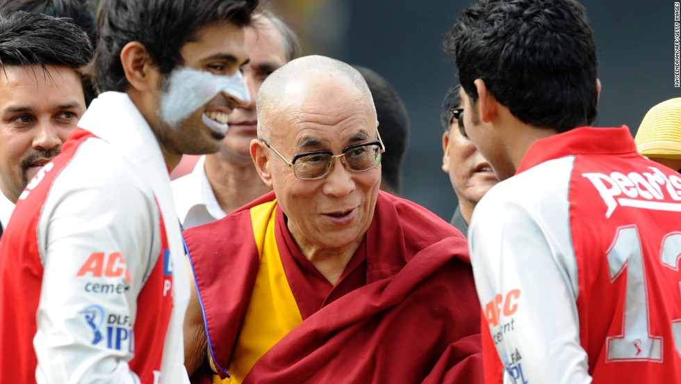 Tibetan Spiritual Leader The Dalai Lama is also a fan. Here, he greets cricketers ahead of a IPL match between Deccan Chargers and Kings XI Punjab in Dharamsala on May 21, 2011.