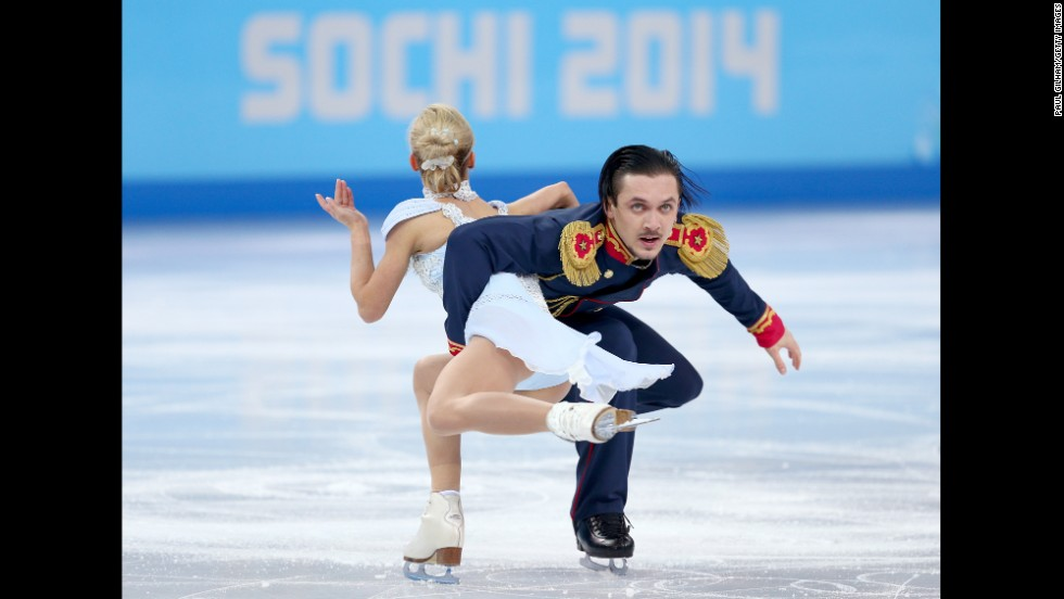 Tatiana Volosozhar and Maxim Trankov of Russia compete in pairs figure skating on February 11.