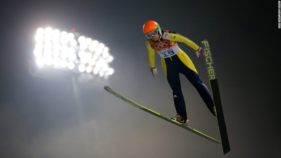 Eva Logar of Slovenia competes in the women's normal hill ski jumping event on February 11.