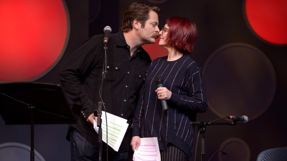 """Nick Offerman's key to Megan Mullally's heart: """"If you're in a relationship, you should make gestures to your significant other. I always try to make Megan a card or a gift. Cards are not that hard. ... Go to the printer. There's paper inside the printer. Discern how to get the paper out of the printer. Take one sheet, fold it in half, draw a heart on it, sign your name, write I love you. A bonus tip is to go outside and get a little piece of nature: a shell, a leaf ... some bark. Adhere that piece of nature to the center of the heart, and then get stretched out, because you're going on a ride to the realm of coitus."""""""