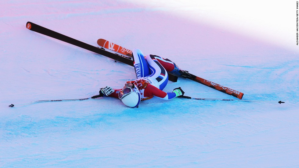 Skier Marie Marchand-Arvier of France crashes during a run in the women's downhill event on February 12.