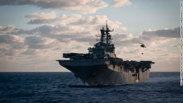 Multipurpose amphibious assault ship USS Iwo Jima sails in the Atlantic Ocean.
