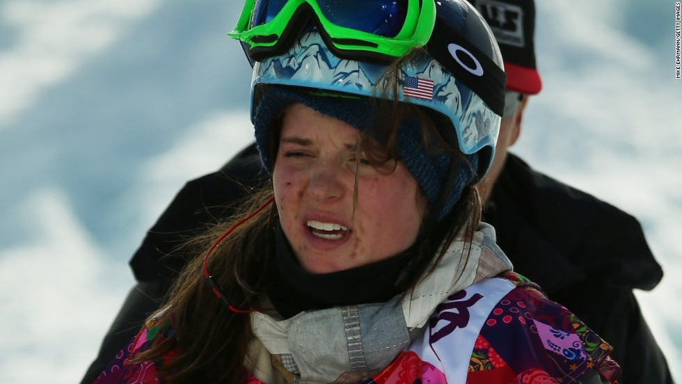 Taylor's sister Arielle Gold pictured after her crash -- which led to a separated shoulder -- in a warmup at the 2014 Sochi Olympics. Ranked fourth in the world in the women's halfpipe, she missed out on participating in her first Olympics.