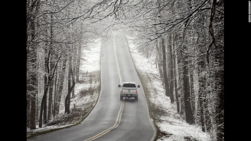 A vehicle travels in Greenville, South Carolina, on February 11.