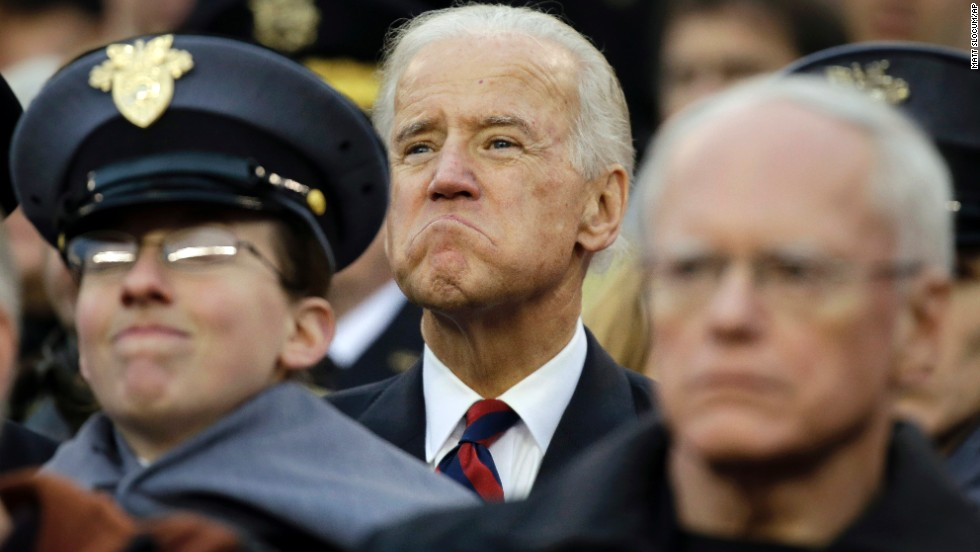 Joe Biden watches the Army-Navy football game in Philadelphia in December 2012.