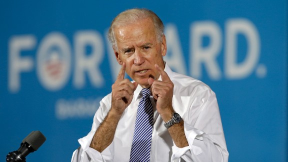 Joe Biden speaks during a campaign rally at Lorain High School in Ohio in October 2012.