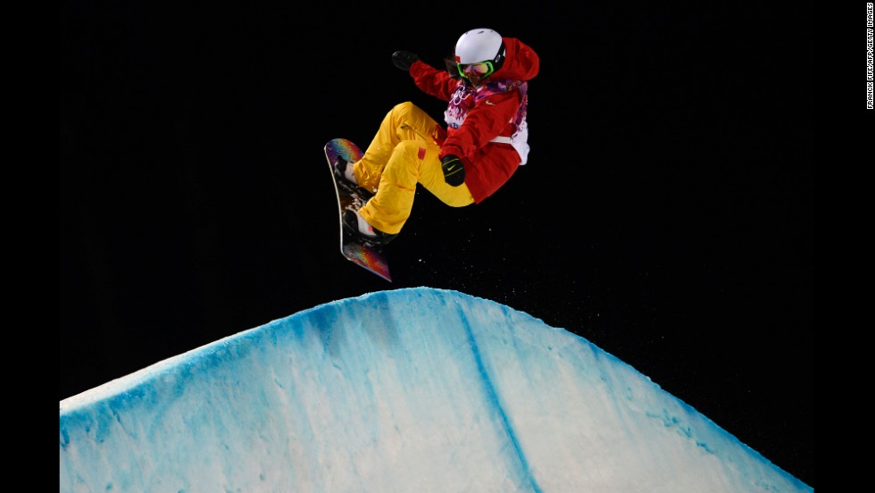 Chinese snowboarder Liu Jiayu competes in the women's halfpipe semifinals on February 12.
