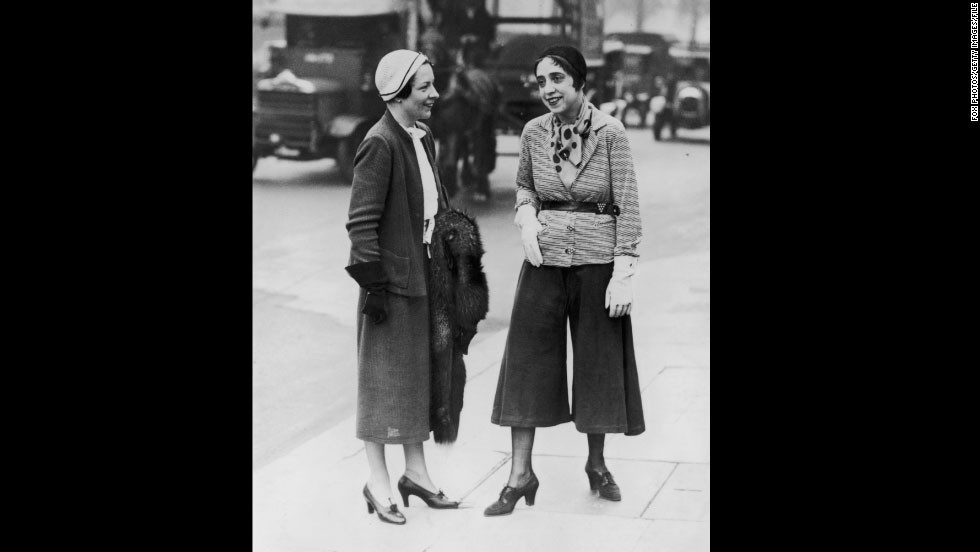 "French designer Coco Chanel once dismissed her rival, Elsa Schiaparelli, as: ""That Italian artist who makes clothes."" Indeed, the designer (pictured right, wearing the ""trousered skirt"") was known for her whimsical, surrealist-inspired pieces, even collaborating with Salvador Dali."