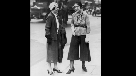 """Coco Chanel once dismissed her rival, Elsa Schiaparelli, as: """"That Italian artist who makes clothes."""" Indeed, the designer (pictured right, wearing the """"trousered skirt"""") was known for her whimsical, surrealist-inspired pieces, even collaborating with Salvador Dali."""